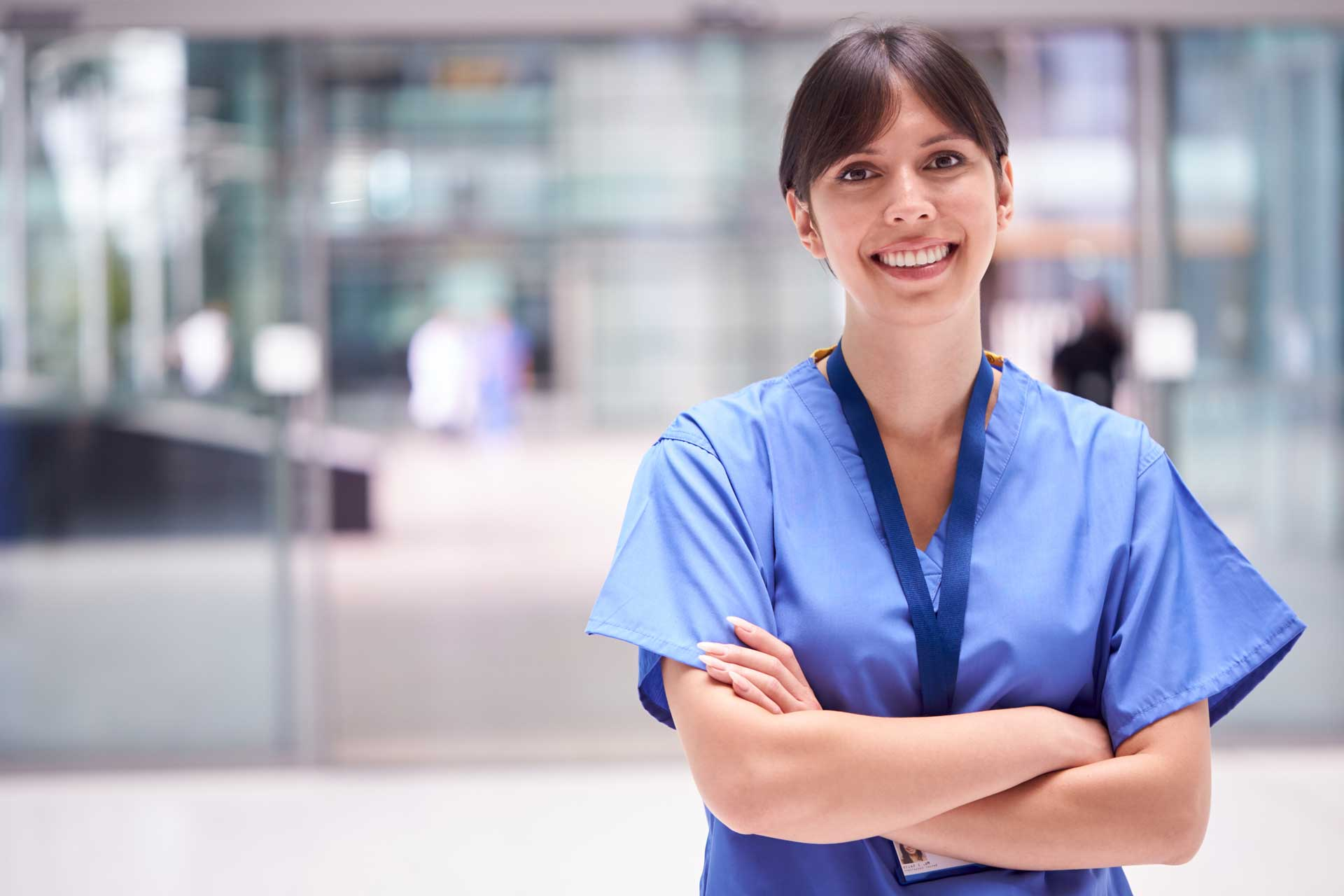 woman nurse standing and smiling